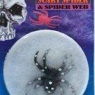 BLACK SCARY SPIDER COB WEB Set Stretch Halloween Decoration Kit White Fake Bug