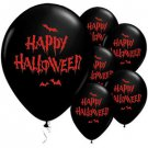 """Lot of 4 HAPPY HAUNTED HALLOWEEN 11"""" BALLOONS Black Red Bats Party Latex Rubber"""