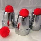 CHROME PLASTIC CUPS AND BALLS SET Silver Beginner Magic Trick Kid Mini Kit Toy