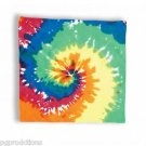 "HIPPIE TIE DYE BANDANA 22"" Poly Cloth Hanky Handkerchief Costume 60s 70s Color"