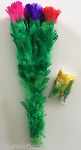 DOUBLE BLOOMING BOUQUET Magic Trick 5 Growing Feather Flowers Rose Magician Gag