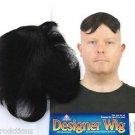 Funny BLACK TOUPEE WIG Fake Hair Piece Rug Clown Nerd Costume Bald Man Joke Gag