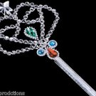 "16"" SILVER CROWN WAND PLASTIC JEWELS Star Toy King Princess Magic Stick Scepter"