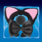 BLACK PUSSY CAT HEADBAND EARS FOAM NOSE & TIE SET Kit Bow Animal Mask Adult Kid