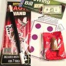 "BEGINNER MAGIC SET Kit 10"" Magician Wand + 7 Trick Money Card Thumb Tip Silk Toy"