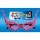 GLITTER CAT EYE WING GLASSES 1950's Funny Costume Joke Sunglasses 60's Funny Gag