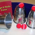 Large ALUMINUM CUPS & BALLS Magic Trick And Book Set Big Size Load Table Silver
