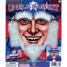 UNCLE SAM PATRIOTIC BEARD KIT Sideburns Eyebrows White Costume Fake Hair USA