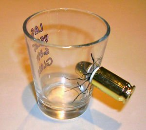 FAKE BULLET THRU SHOT GLASS Las Vegas Joke Gag Prank Trick Bar Poker Party Funny