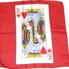 """18"""" KING OF HEARTS CARD SILK Magic Trick Playing Red Scarf Magician Prop Hank"""