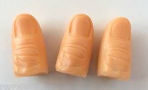 3 Pack HARD PLASTIC THUMB TIPS Finger Fake Magic Trick Magician Tip Lot Set Toy