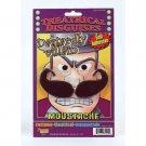 MOUSTACHE DASTARDLY VILLAIN Coward Costume Black Fake Mustache Bad Mean Guy Big
