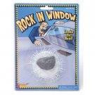 FAKE ROCK IN WINDOW Through Joke Gag Prank Stone Smash Broken Glass Trick Decal