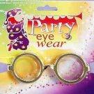 GOLD WIZARD NERD EYE GLASSES Costume Round Joke Dork Geek Bottle Thick Lenses