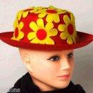 CLOWN DAISY FLOWER DERBY HAT Red Yellow Costume Cap Stiff Felt Funny Adult