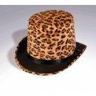 MARDI GRAS LEOPARD PRINT TOP HAT Costume Cap Adult Circus Tiger Lion Tamer Magic