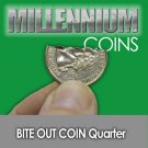 BITE OUT FOLDING US QUARTER Coin in Bottle Magic Trick Close Up Real .25 Joke