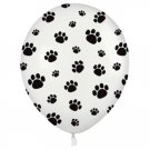 "50 PAW PRINTS BALLOONS 11"" White Black Dog Puppy Cat Latex Animal Party Pack Bag"