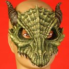 Deluxe GREEN DRAGON HALF MASK Latex Rubber Lizard Dinosaur Costume Alien Bird