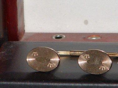Men�s Pre-Owned Gold Tone Crown Cufflink & Tie Tack Set