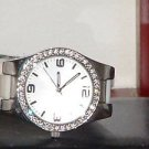 Women's White Rhinestone Silicone Quartz Analog Watch