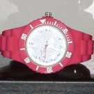 Pre-Owned Women's Dark Pink Sport Style Fashion Analog Quartz Watch
