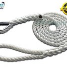 "5/8"" X 10' Three Strand Mooring Pendant 100% Nylon Rope with Thimble. (Tensile Strength 10400 Lbs.)"