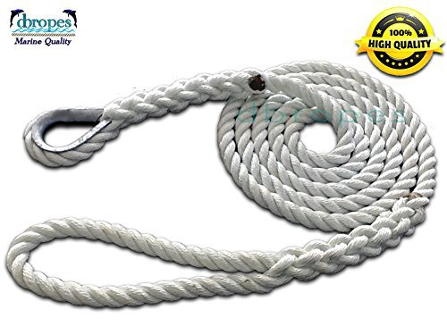 "5/8"" X 15' Three Strand Mooring Pendant 100% Nylon Rope with Thimble. (Tensile Strength 10400 Lbs.)"