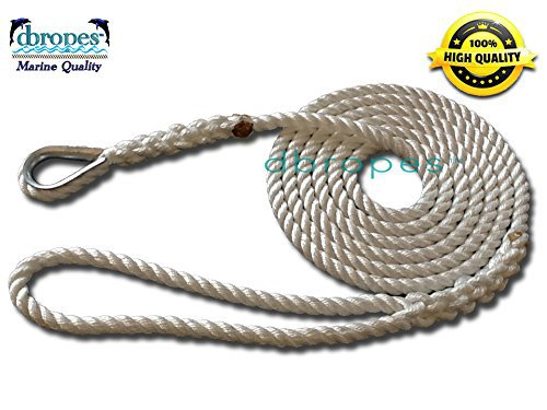 "1/2"" X 10' Three Strand Mooring Line 100% Nylon Rope with Thimble. (Tensile Strength 6700 Lbs.)"