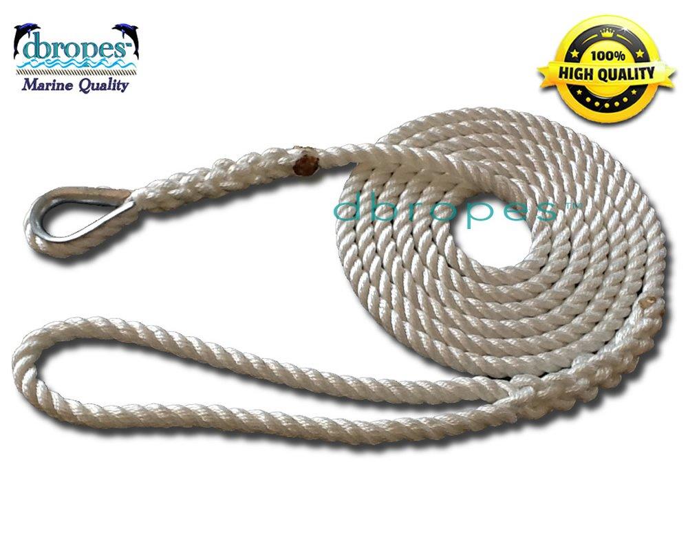 "1/2"" X 15' Three Strand Mooring Line 100% Nylon Rope with Thimble. (Tensile Strength 6700 Lbs.)"