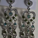 Green Crystal Heart Silver Plated Pierced Chandelier Earrings 3 1/2""