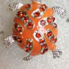 Enamel Crystal 9 Color Variations Silver Plate Turtle Ring Size 7 1/2 adjusts