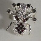 Silver Plated Purple Black Hematite Crystal Spider Ring Size 7 1/2Adjustable