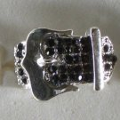 Black Crystal Silver Plate Buckle Ring Size 7 1/2 to 8 1/2 adjusts