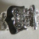 Clear Crystal Silver Plate Buckle Ring Size 7 1/2 to 8 1/2 adjusts