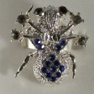 Silver Plated Blue Black Hematite Crystal Spider Ring Size 7 1/2 Adjustable