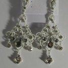 "Unusual White Clear Crystal Chandelier Earrings 3 1/8"""