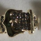 Clear Crystal Gold Plate Buckle Ring Size 7 1/2 to 8 1/2 adjusts