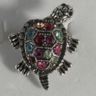 Pink Blue Green Crystals Silver Turtle Ring Moveable Head & Legs Size 7 1/2