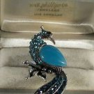 Unusual Blue Enamel and Blue Crystal Silver Plated Peacock Ring Size 6 1/2 - 7