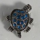 Blue Crystals in Silver Turtle Ring Moveable Head and Legs Size 7 1/2 adjusts