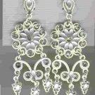 "Unusual White Clear Crystal Chandelier Earrings 3"""