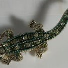 Green and Topaz Crystal with Green Enamel Gold Plated Alligator Pin Brooch