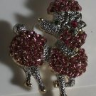 Fancy Pink Crystal Poodle Dog Pin Brooch Gold Plated