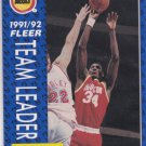 Hakeem Olajuwon 1991-92 Fleer Basketball Team Leaders #381 Houston Rockets
