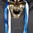 """Comedy Solid Brass Mask Wall Hanging Theater Made in India 5"""" Vintage"""