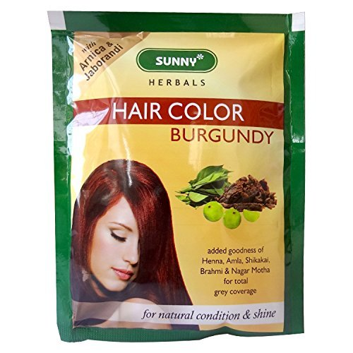 20 Sachets Sunny Herbals Burgundy Hair Color (with Arnica, Jaborandi) 10 gms