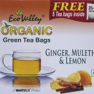 Organic Green Tea W/ Ginger, Mulethi & Lemon - 30 TB - Eco Valley .