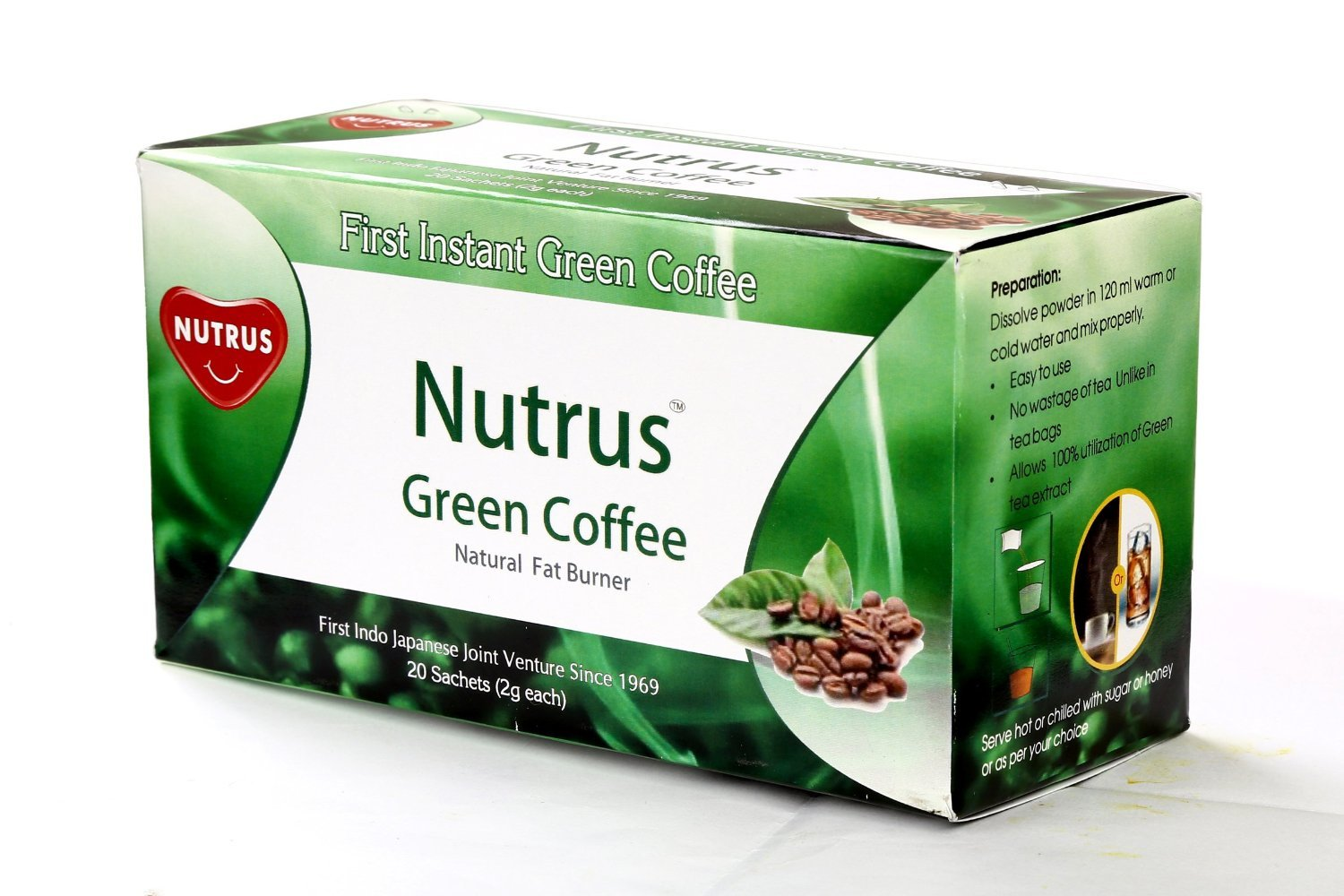 Nutrus Green Coffee Natural Fat Burner Sachets Tea Bags 20
