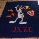 handmade fleece blanket bugs, daffy, tweedy, tazz twin size